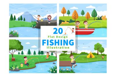 20 Children Fishing Fish Vector Illustration
