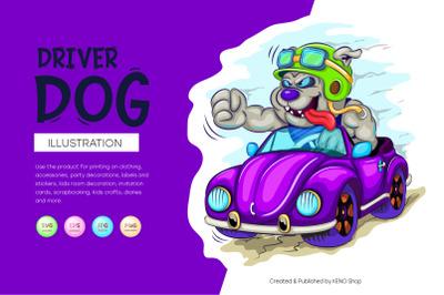Cartoon dog driver.