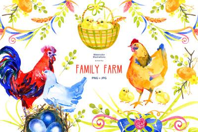 Family Farm - watercolor clipart