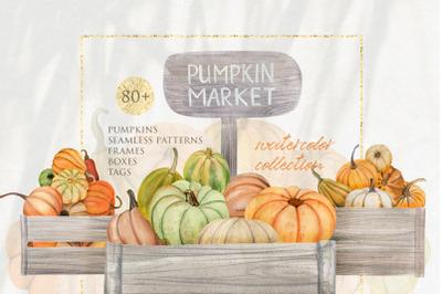 Pumpkin Market Watercolor Clipart