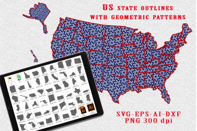 The outlines of the US states with a pattern. SVG