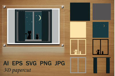 Kitten on the window, papercut SVG by layers