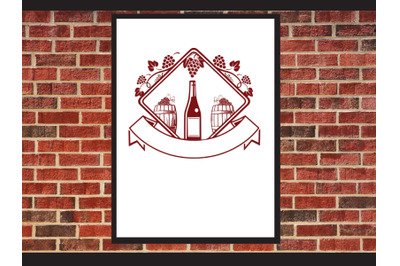 Wine glass Label logo