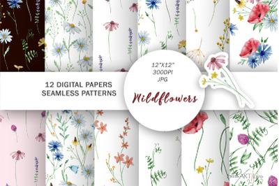 Wildflower Floral Digital Paper Seamless Flower Patterns