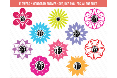 Flowers svg, Flowers monogram frames, Flower clipart