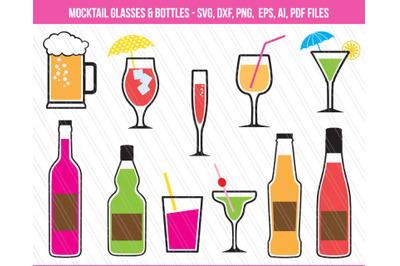 Beer Glass, Martini glass, Mocktail glass svg, cocktail svg,bottle svg