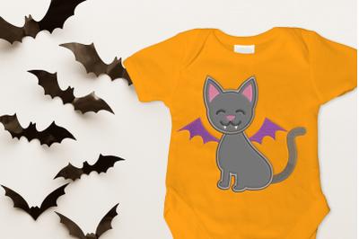 Vampire Cat Halloween | Applique Embroidery