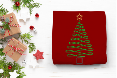 Swirly Christmas Tree Outline | Embroidery