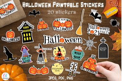 Halloween Stickers. Halloween sticker bundle. 20 printable stickers.