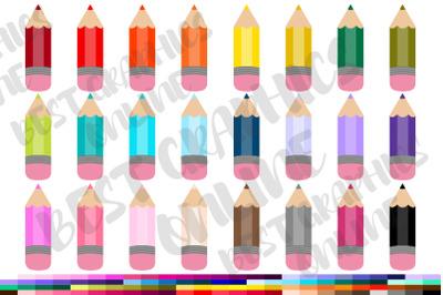 Colored Pencils Clipart Set, Pen Clipart