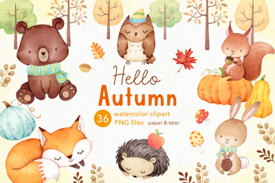Watercolor Autumn Woodland Clipart, Fall Forest Baby Animal PNG