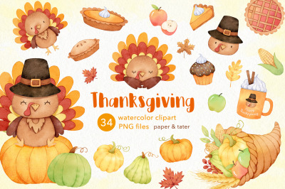 Watercolor Thanksgiving Clipart, Autumn Holiday Turkey PNG
