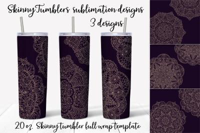 Gold Mandalas sublimation design. Skinny tumbler wrap design.