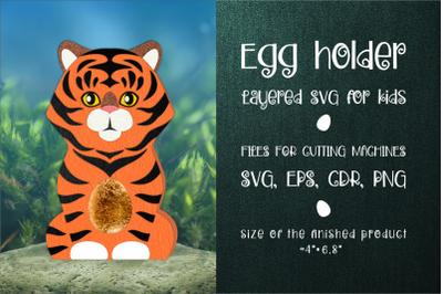 Tiger Chocolate Egg Holder Template SVG
