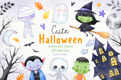 Watercolor Halloween Clipart, Cute Monsters PNG