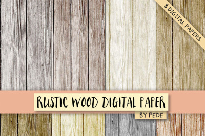 Rustic wood digital paper pack