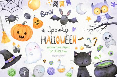 Watercolor Spooky Halloween Clipart, Jack O Lantern PNG