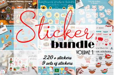 Sticker mega bundle. 221 Printable stickers. 9 sets of stickers.