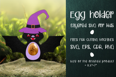 Halloween Bat Egg Holder Template SVG
