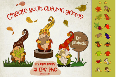 Autumn Gnomes with leaves and fruits