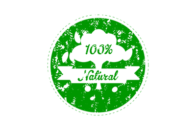 Label for natural product food, rubber stamp