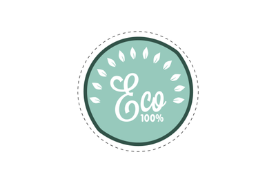Eco badge with guarantee 100, green food and drink.