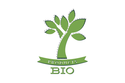 Bio product label with green tree and ribbon
