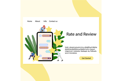 Rate and review landing service. Mobile application for feedback