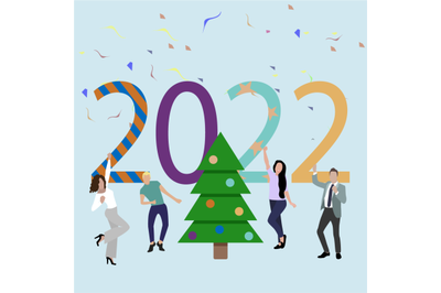 Party new 2022 year. Friends dancing around christmas tree