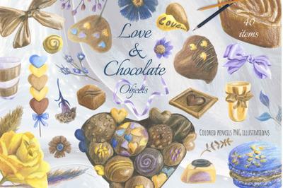Valentine's chocolates clipart. Chocolate gift box.