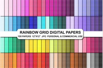 100 Grid digital papers Lines Stripes pattern background