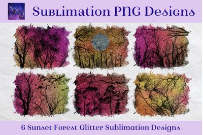 Sublimation PNG Designs - Sunset Forest Glitter