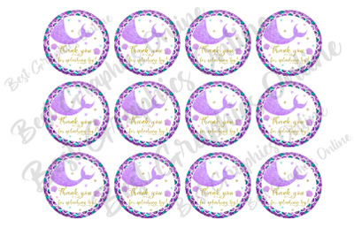 Mermaid Thank You For Splashing By Party Printable Stickers