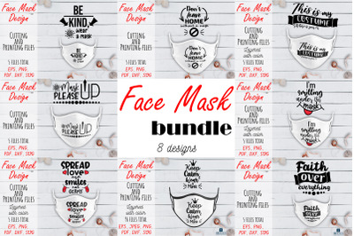 Face Mask SVG Bundle. Face Mask Quote PNG, JPEG, PDF, SVG, DXF files.
