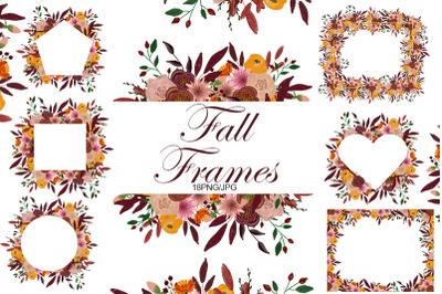 Fall. Wedding. Teacher. Halloween. Fall Frames clipart.
