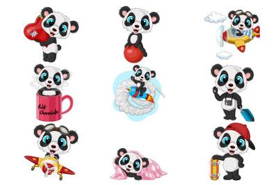 Set of Nine Baby Panda Collection