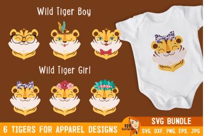 Tiger boys and girls. Cartoon head animals