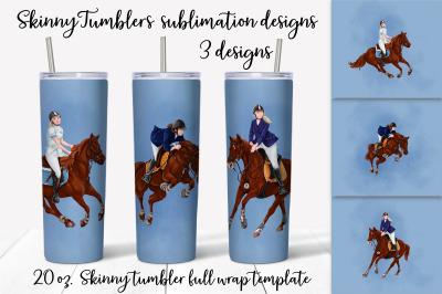Horse Riding sublimation design. Skinny tumbler wrap design.