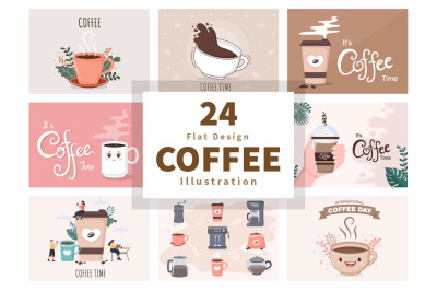 24 Set Coffee Cup Background Vector