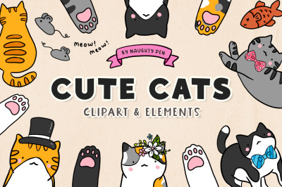 Cute Cats Clipart and Elements