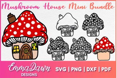 MUSHROOM HOUSE SVG MINI BUNDLE 6 MANDALA ZENTANGLE DESIGNS