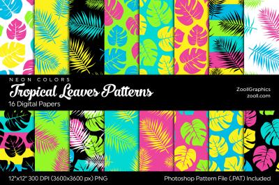 Tropical Leaves Neon Digital Papers
