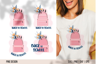 Back to school SVG, backpack with flowers sublimation