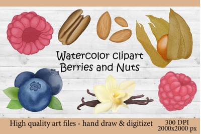 Watercolor illustration Baking decor. Sweet berries and Nuts.Vanilla i