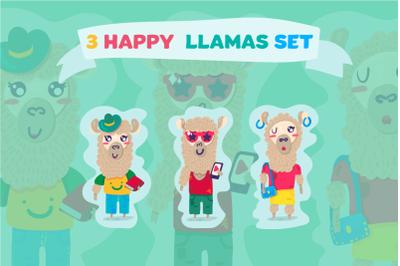 Cartoon Lama Characters Set