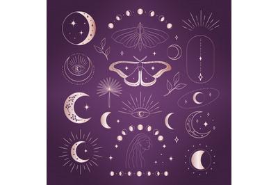 Abstract Mystic Logo Designs. Pink Gold. Eyes, stars, moon, sunbursts.