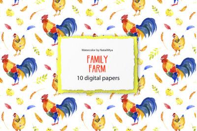 Family Farm - digital paper pack
