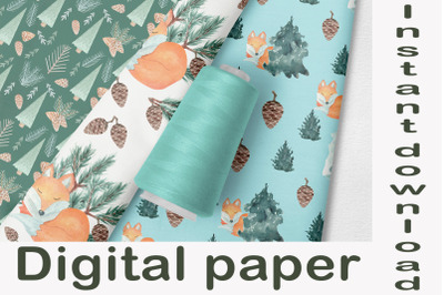 Watercolor seamless pattern, pine trees and fox, digital paper