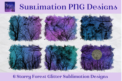 Sublimation PNG Designs - Starry Forest Glitter