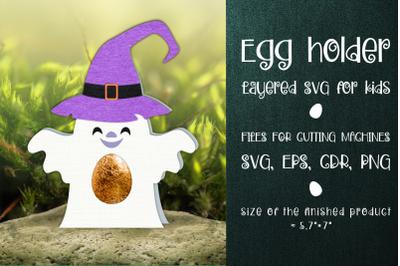 Halloween Ghost Egg Holder Template SVG